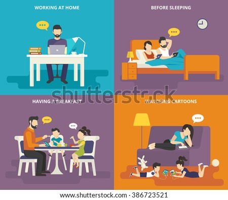 Family with children concept flat icons set of man working at home with laptop, reading news before sleeping, having a breakfast , watching cartoons on tablet pc. Illustration of people with gadgets - stock vector