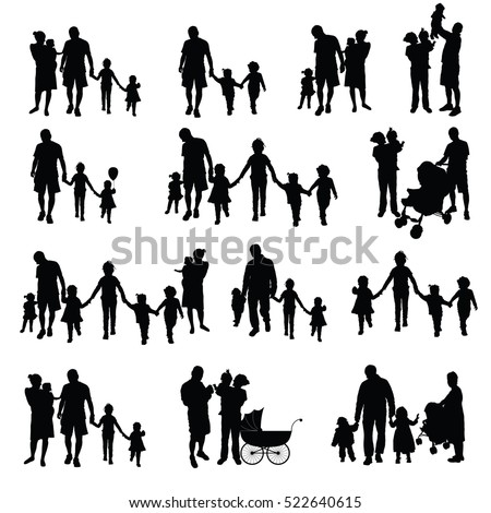 family with children set silhouette in black color illustration