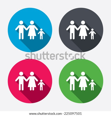 Family with one child sign icon. Complete family symbol. Circle buttons with long shadow. 4 icons set. Vector - stock vector