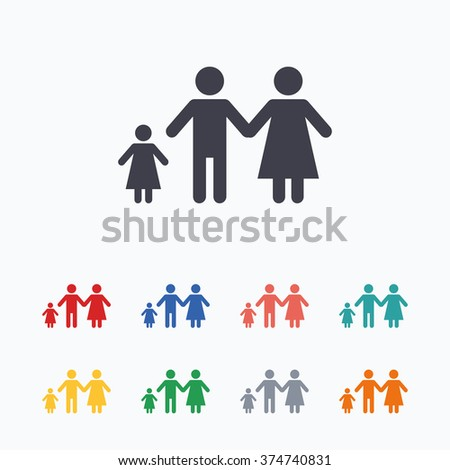 Family with one child sign icon. Complete family symbol. Colored flat icons on white background.