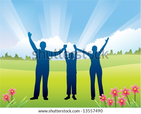 family with son hands up vector - stock vector