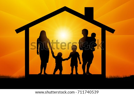 Caring Family Silhouette Stock Vector 55505305 - Shutterstock