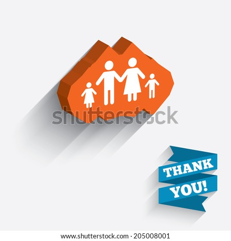 Family with two children sign icon. Complete family symbol. White icon on orange 3D piece of wall. Carved in stone with long flat shadow. Vector - stock vector