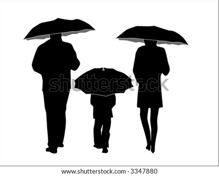 family with umbrellas
