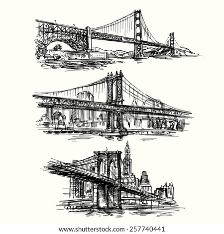 famous bridges - hand drawn set  - stock vector