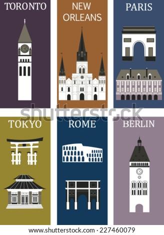 Famous cities. Vector - stock vector