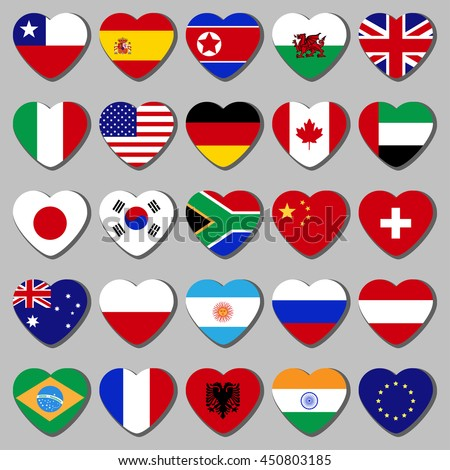 Famous country, a set of flags in the shape of a heart. With the shadow on a gray background.