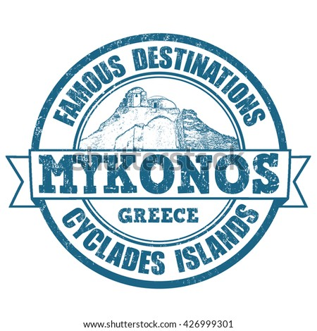 Famous destinations, Mykonos, stamp or label on white background, vector illustration