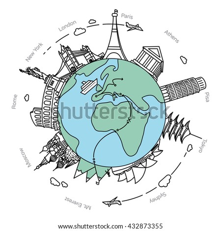 Famous landmarks and travel destinations around the earth. Travel flat design illustration with city names.  - stock vector