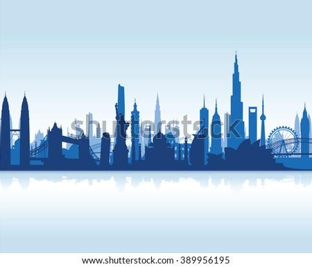 famous landmarks cityscape background - stock vector