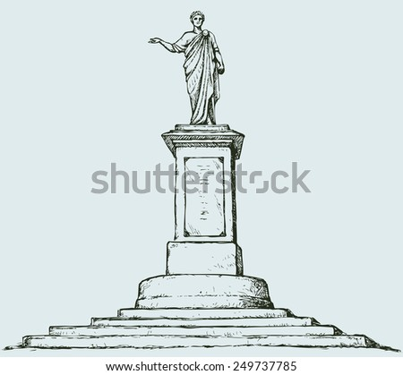 Famous memorial to Duke de Richelieu. Odessa, Ukraine. French noble aristocrat, mayor. Vector monochrome freehand drawn background sketching in style of antiquity pen on paper with space for text - stock vector