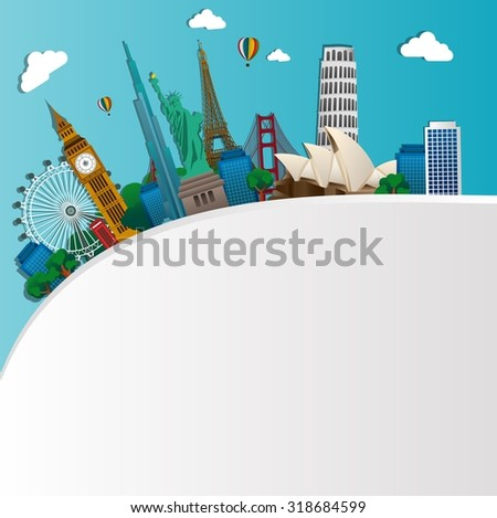 Famous monuments of the world. Symbol. vector - stock vector