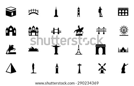 Famous Monuments Vector Icons 1 - stock vector