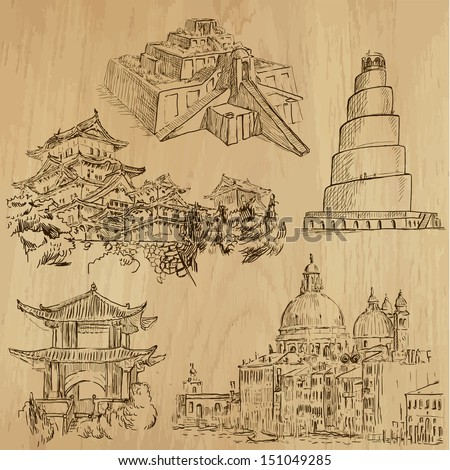 Famous places and Architecture around the World (set no.1).Collection of hand drawn illustrations (originals,no tracing).Each drawing comprise of two layers of outlines, colored background is isolated - stock vector