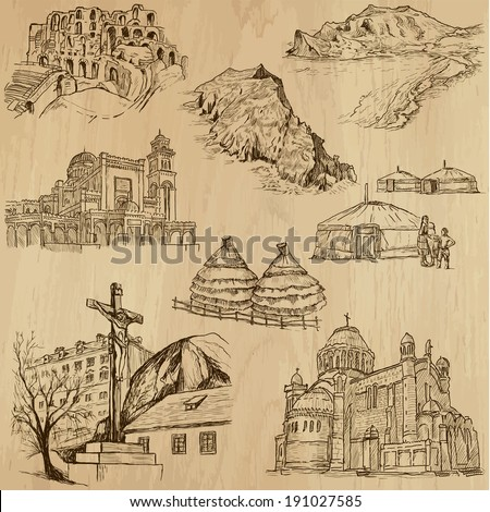 Famous places and Architecture around the World (set no.25).Collection of hand drawn illustrations (originals,no tracing).Each drawing comprise of two layers of lines, colored background is isolated - stock vector