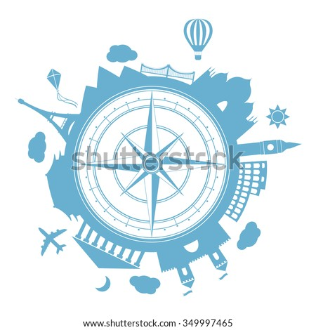 Famous places. Time to travel vector illustration. Around the world traveling by plane, airplane trip in various country.  Flat icon modern design style poster. Travel banner. Wind rose Travel - stock vector