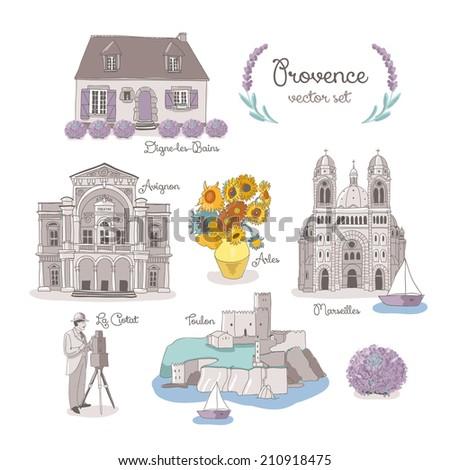 Famous Provence landmarks. vector illustration - stock vector