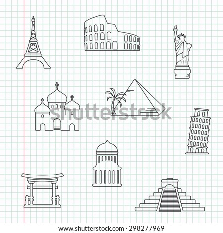 Famous world landmark icons on a sheet of notebook paper - stock vector