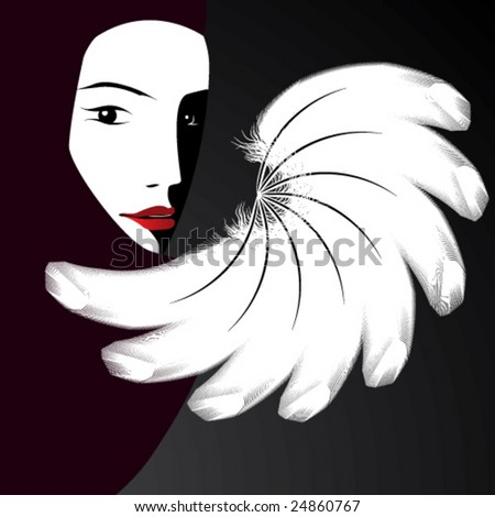Fan and a woman's face - stock vector