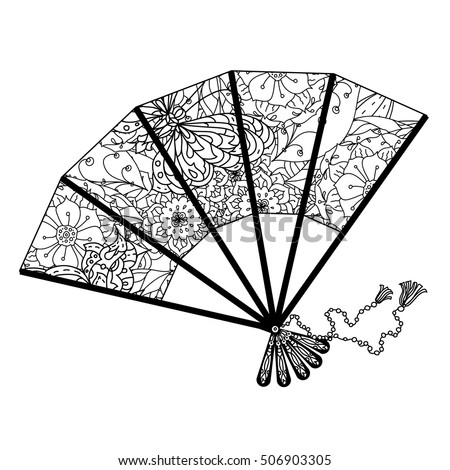 indian hand fan clipart. fan decorated by contoured butterflies and asian style flowers. zen picture for anti stress indian hand clipart