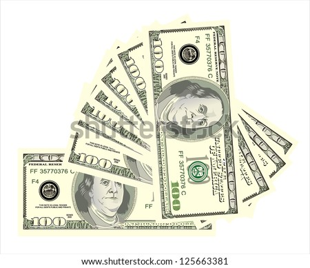 fan, dollars isolated on white - stock vector