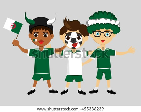 Fan of Algeria national football team, sports. Boy with flag in the colors of the state command with sports paraphernalia. - stock vector