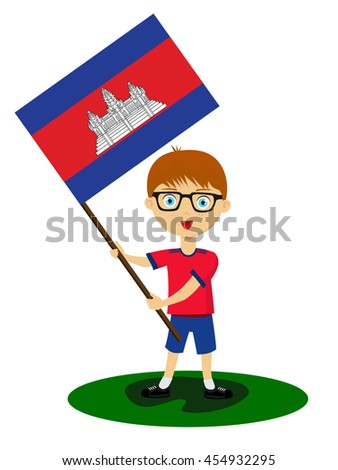 Fan of Cambodia national football team, sports. Boy with flag in the colors of the state command with sports paraphernalia.