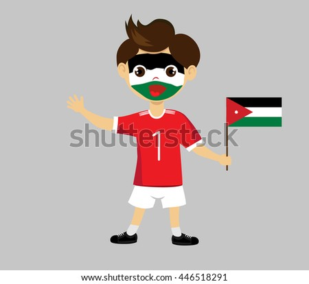 Fan of Jordan national football team, sports. Boy with flag in the colors of the national command with sports paraphernalia.