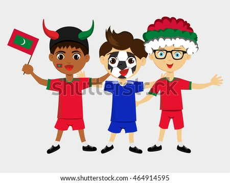 Fan of Maldives national football team, sports. Boy with flag in the colors of the state command with sports paraphernalia.
