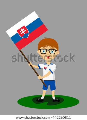 Fan of  Slovakia national football team, sports. Boy with flag in the colors of the national command with sports paraphernalia.