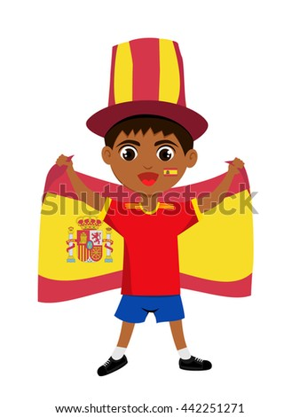 football fan clipart. fan of spain national football team, sports. boy with flag in the colors clipart