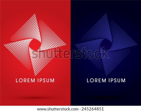 Fan spin, Abstract Square, design using line graphic, geometric shape, logo, symbol, icon, vector. - stock vector
