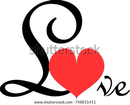 Fancy Calligraphy Word Love Red Heart Stock Vector 2018 748831411