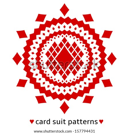 Fancy card suit pattern made from diamonds. Poker situation when cards are all of the same suit. - stock vector