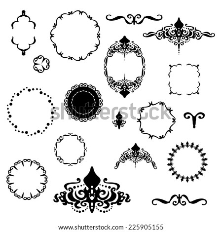 fancy design elements vector with black and white borders and frame designs, fleur de lis Victorian designs in round and square shapes - stock vector