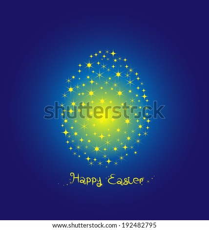 Fancy Egg Easter on blue background - stock vector