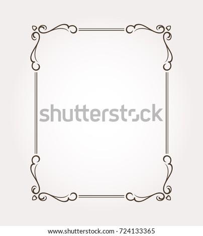 fancy frame border. Fancy Frame Border. Page Ornament With Decorative Design Elements. Vector Illustration Border