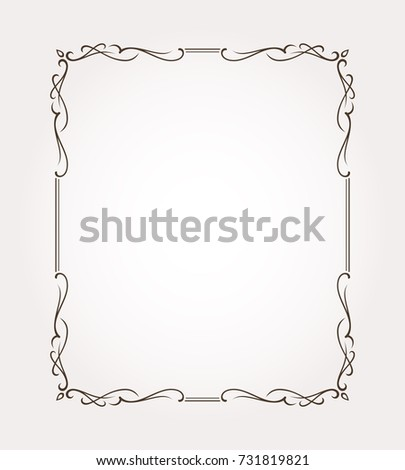 Fancy Frame Border Page Ornament With Decorative Design Elements Vector