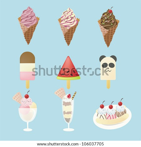 Fancy ice creams  with 9 different look, design by vector - stock vector