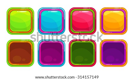 Fancy vector colorful bright buttons and app icon frames, isolated on white - stock vector