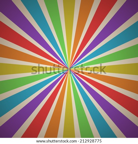 Fanning Rays Abstract Geometric Background with Exploding Stripes in Rainbow Spectrum Vintage Colors - stock vector