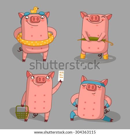 Fanny farm animals - set cute pigs - stock vector