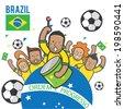 Fans cheering Brazil soccer team - vector - stock