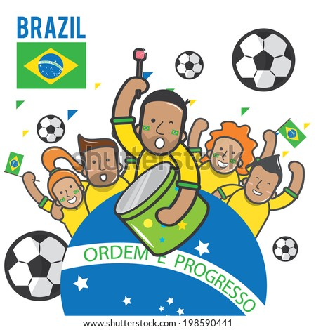 Fans cheering Brazil soccer team - vector - stock vector