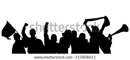 Fans Cheering Silhouette on white background - stock vector