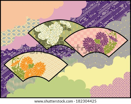 Fans in the Clouds: An original design using traditional Japanese patterns and motifs - stock vector
