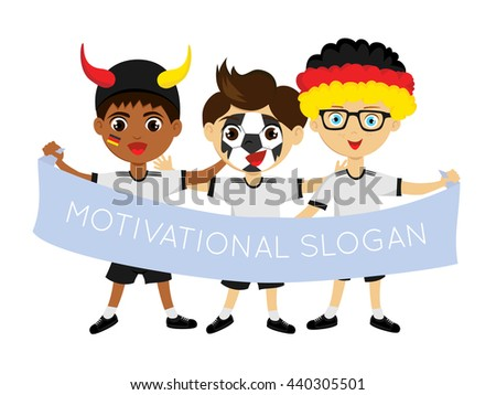 Fans of the national team of Germany. Football fans, sports fans, fans of the national team. Can be used as illustrations, characters can be used in various designs.Fans with a banner in his hands - stock vector