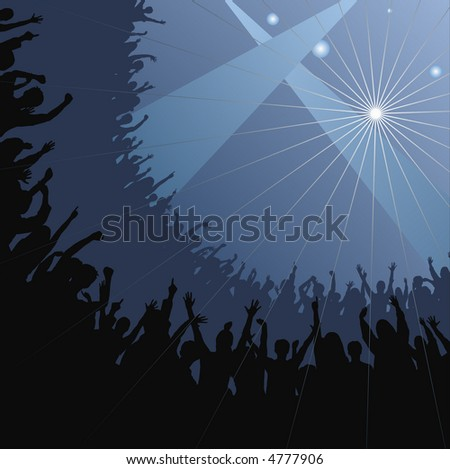 Fans raise their hands at concert - stock vector