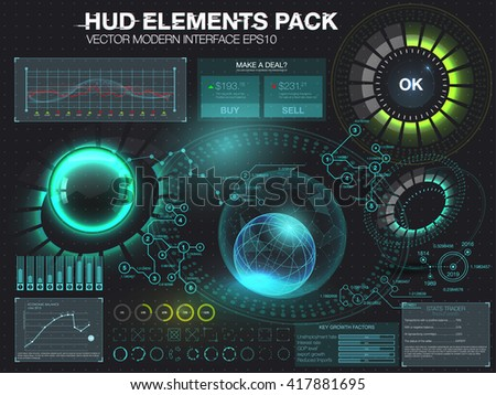 Fantastic abstract background with different elements of the HUD. Big set of various HUD elements. Charts, ratings style HUD switches and various geometrical objects - stock vector