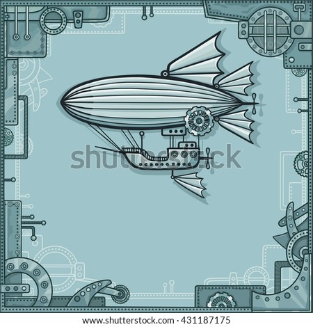 Fantastic airship. A background - a frame from metal details, the iron mechanism. - stock vector